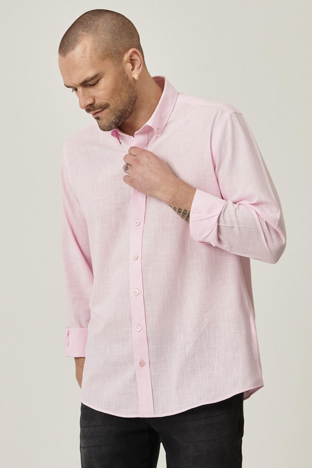 Tailored Slim Fit Dar Kesim Düğmeli Yaka %100 Koton Gömlek