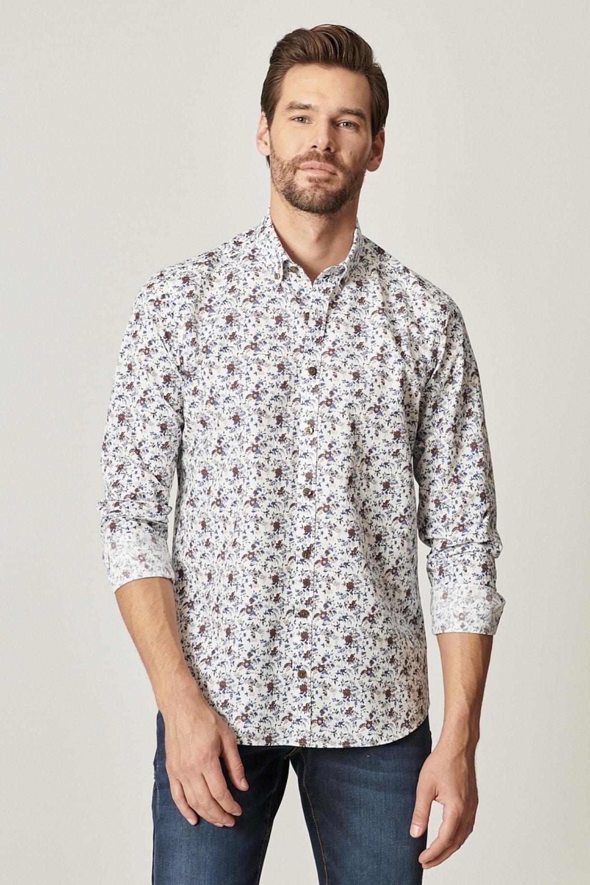 Tailored Slim Fit Düğmeli Yaka Baskılı Gömlek