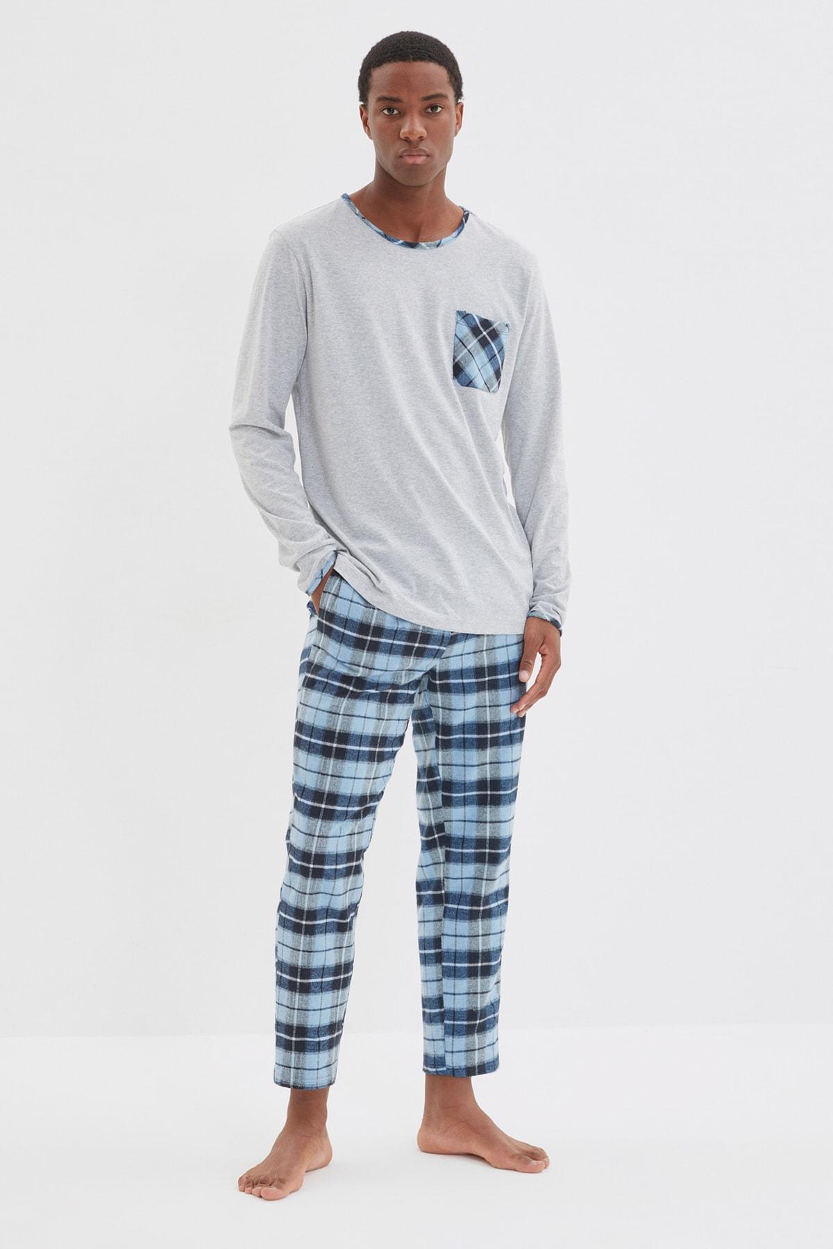 ست لباس راحتی ترندیول من پیژامه مردانه توسی آبی  Trendyolman