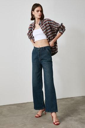 TRENDYOLMİLLA Lacivert Chino Cep Yüksek Bel Wide Leg Jeans TWOAW21JE0727 1