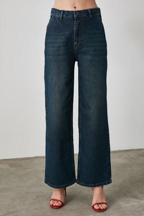 TRENDYOLMİLLA Lacivert Chino Cep Yüksek Bel Wide Leg Jeans TWOAW21JE0727 4