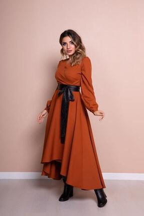 Bidoluelbise Kadın Tarçın Siyah Deri Kemerli Tarçın Uzun Kol Asimetrik Kesim Elbise 1