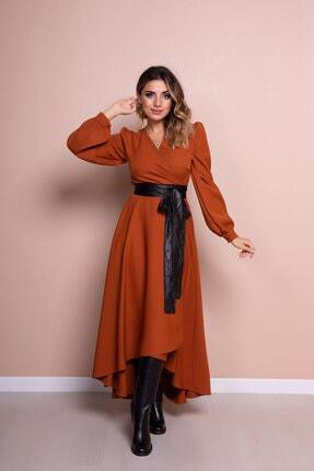 Bidoluelbise Kadın Tarçın Siyah Deri Kemerli Tarçın Uzun Kol Asimetrik Kesim Elbise 2