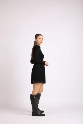 Masish Kadın Siyah Topuklu Toka Detaylı Hakiki Deri Çizme 0