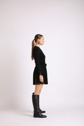Masish Kadın Siyah Topuklu Toka Detaylı Hakiki Deri Çizme 1