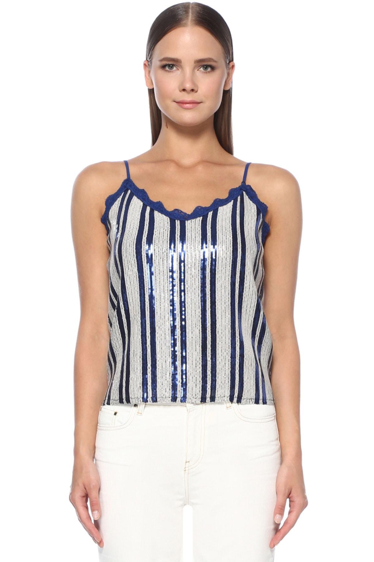 Kadın Beyaz Lacivert Bluz 1074630