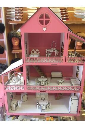 GENÇ MÖBLE Gençmöble - Ahşap Barbi Çocuk Oyun Evi - 60 Cm Pembe 1