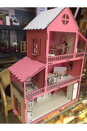 GENÇ MÖBLE Gençmöble - Ahşap Barbi Çocuk Oyun Evi - 60 Cm Pembe 4