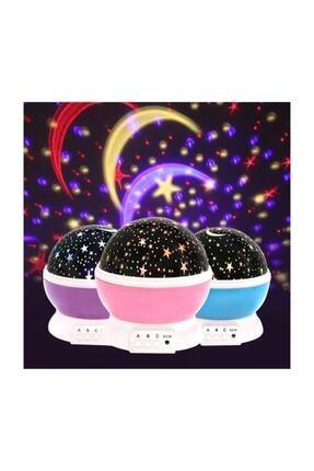 Patladı Gitti Renkli Ve Dönen Star Master Projeksiyon Gece Lambası Mor 1