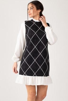 armonika Kadın Füme Yakası Ve Altı Fırfırlı Desenli Elbise ARM-21K001041 1