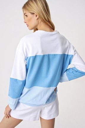 Trend Alaçatı Stili Kadın Mavi 3 Bloklu Bisiklet Yaka Sweatshırt 4