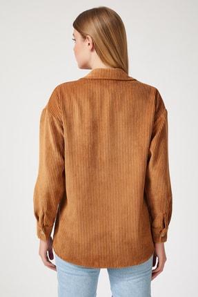 Happiness İst. Kadın Camel Kadife Hafif Oversize Gömlek DD00768 1
