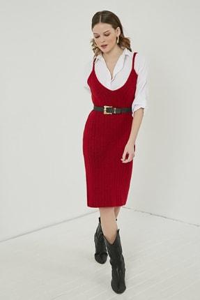 Sateen Kadın Kırmızı Midi Askılı Triko Elbise  STN220TR338 1