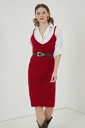 Sateen Kadın Kırmızı Midi Askılı Triko Elbise  STN220TR338 3