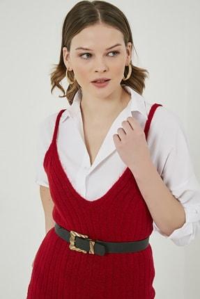 Sateen Kadın Kırmızı Midi Askılı Triko Elbise  STN220TR338 4