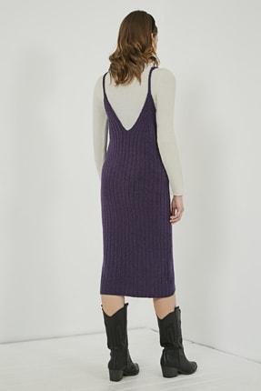 Sateen Kadın Mor Midi Askılı Triko Elbise  STN220TR338 4