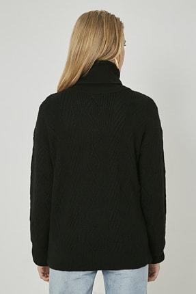 Sateen Kadın Siyah Örgü Desenli Boğazlı Uzun Triko 2
