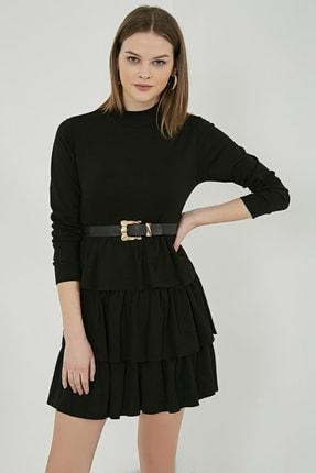 Sateen Kadın Siyah Uzun Kol Kat Detay Kısa Elbise 1