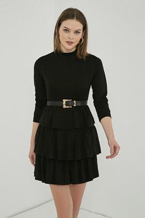 Sateen Kadın Siyah Uzun Kol Kat Detay Kısa Elbise 3