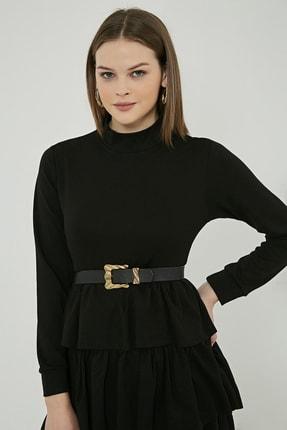 Sateen Kadın Siyah Uzun Kol Kat Detay Kısa Elbise 4