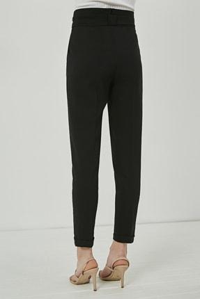 Sateen Kadın Siyah Kuşaklı Yüksek Bel Pantolon 3
