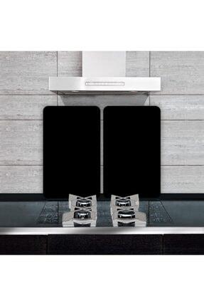 Saban Dekoratif Cam Ocak Koruyucu Ve Kesim Tahtası Düz Siyah (60cm X 52cm) 2 Parça, 4'lü Ocaklar 1