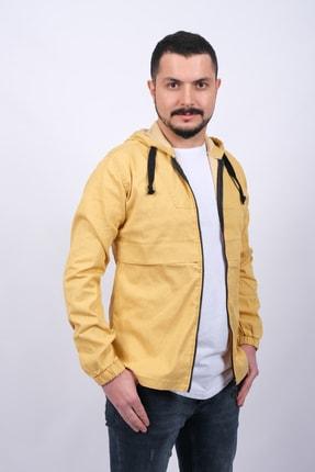 GAMBA Erkek Sarı Kapüşonlu Fermuarlı Sweatshirt 1