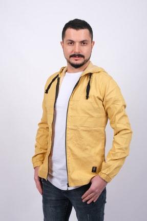 GAMBA Erkek Sarı Kapüşonlu Fermuarlı Sweatshirt 2
