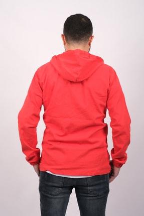 GAMBA Erkek Kırmızı Kapüşonlu Fermuarlı Sweatshirt 3