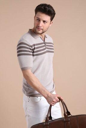 Ferraro Erkek Bej  Polo Yaka Fermuarlı Pamuk Triko T-Shirt 0