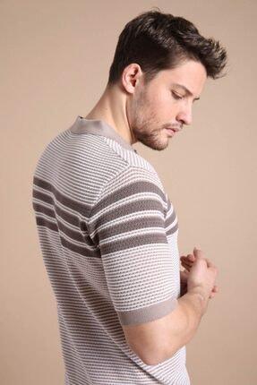 Ferraro Erkek Bej  Polo Yaka Fermuarlı Pamuk Triko T-Shirt 1