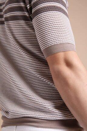 Ferraro Erkek Bej  Polo Yaka Fermuarlı Pamuk Triko T-Shirt 3
