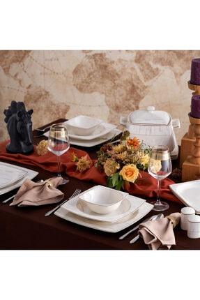 Karaca Batik Fine Cream 60 Parça 12 Kişilik Kare Yemek Takımı 0