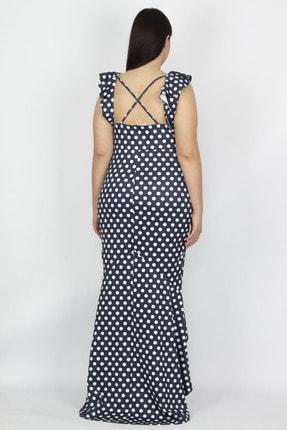 Şans Kadın Lacivert Puan Desenli Volan Detay Elbise 65N19930 2