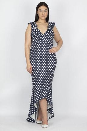Şans Kadın Lacivert Puan Desenli Volan Detay Elbise 65N19930 3