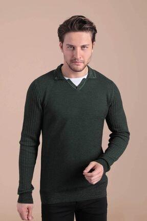 Ferraro Erkek Yeşil    Polo Yaka Pamuk Kazak 4