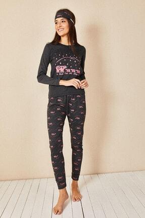 Morpile Kadın Antrasit Baskılı Pijama Takım 2