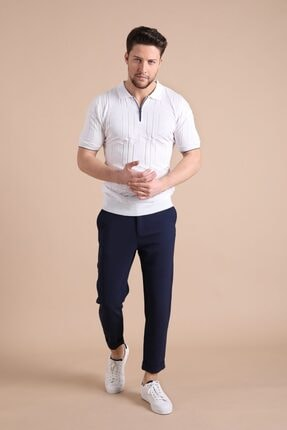 Ferraro Erkek   Beyaz Polo Yaka Fermuarlı  Pamuk Triko T-Shirt 2