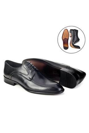 Cabani Erkek Siyah Antik Deri Klasik Ayakkabı 2