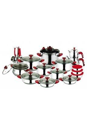 Oms 1037 33 Parça Çelik Çeyiz Setleri Kırmızı Kulp 1037 Kırmızı