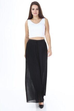 Kadın Siyah Şifon Pliseli Pantolon 3846