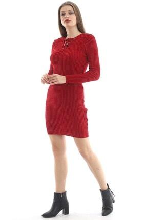 Kadın Kırmızı Triko Elbise TİRİKO-ELBİSE