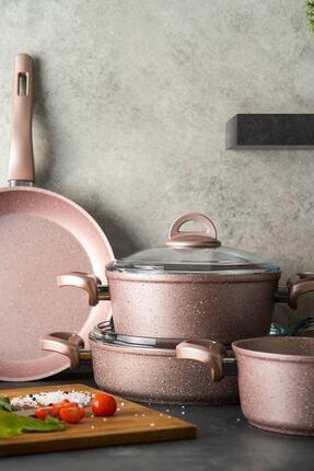 Emsan Premium Granit 7 Parça Golden Pink Tencere Seti 0