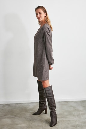 TRENDYOLMİLLA Kahverengi Basic Elbise TWOAW21EL2286 1