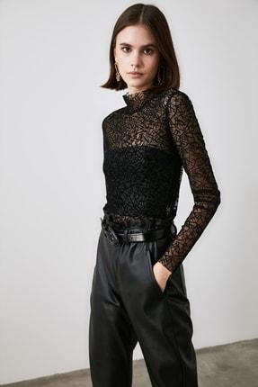 TRENDYOLMİLLA Siyah Tüllü Örme Bluz TWOAW21BZ1198 3