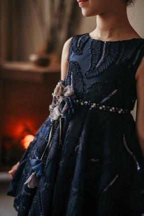 MIALORA EXCLUSIVE Kız Çocuk Lacivert Payetli Inci Kemerli Taçlı Abiye Elbise 1