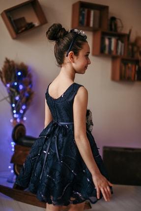 MIALORA EXCLUSIVE Kız Çocuk Lacivert Payetli Inci Kemerli Taçlı Abiye Elbise 2
