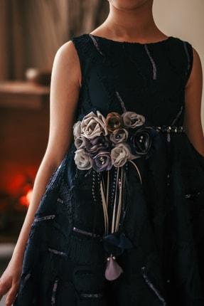 MIALORA EXCLUSIVE Kız Çocuk Lacivert Payetli Inci Kemerli Taçlı Abiye Elbise 3