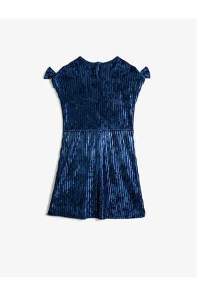 Koton Kız Çocuk Mavi Kisa Kollu Fiyonklu Kadife Elbise 1