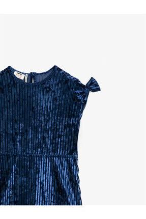 Koton Kız Çocuk Mavi Kisa Kollu Fiyonklu Kadife Elbise 2